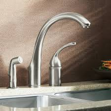 kohler k 10430 g forte single control remote valve kitchen sink kohler k 10430 g forte single control remote valve kitchen sink faucet with sidespray and lever handle brushed chrome touch on kitchen sink faucets