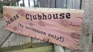 child u0027s clubhouse playhouse custom hand routed wood cedar sign 6
