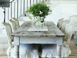 shabby chic round dining table white cotton tablecloth white top
