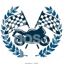Checkered Racing Flags Vector Logo Of A Motorcycle In Front Of Crossed Checkered Race