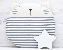 Nursery Decorative Pillows Striped Gray Cat Cushion Pillow Cat Decorative Pillow Gray