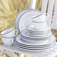 apilco tradition blue banded porcelain dinnerware collection