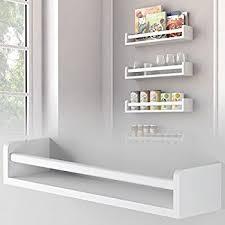 amazon com 1 white kitchen wall shelf spice rack organizer wood