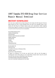 1997 yamaha xvs 650 drag star service repair manual download