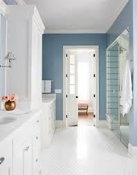 bathroom cabinet with built in laundry her white and blue bathroom features white his and her washstands