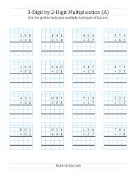 3 digit by 2 digit multiplication with grid support a
