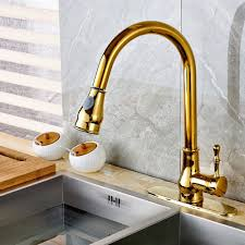 solid brass kitchen faucet twenk golden single hole one handle solid brass pull out sprayer