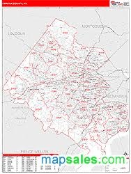 fairfax county map fairfax county va zip code wall map line style by marketmaps