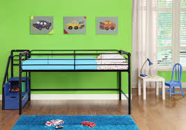 metal low loft bunk bed with stairs and storage for kids design