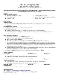 Example Of A Dance Resume Example Of A Dance Resume Dancer Resumes With Education
