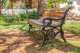 Landscape Timber Bench Cast Iron Wood Slatted Bench Garden Shade Cr2 Royalty Free Stock