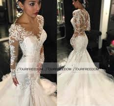 2016 illusion back long mermaid wedding dresses covered button v