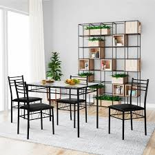 furniture kitchen table set vecelo dining table set glass table and 4 chairs metal kitchen room