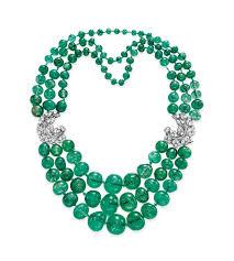 bead diamond necklace images A three strand emerald bead and diamond necklace necklace jpg