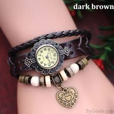 bracelet leather watches images Metallic beads heart retro leather bracelet watch bracelet jpg