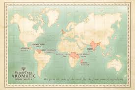 Launch Maps Political Style World Map For The Launch Of Fever Tree Aromatic