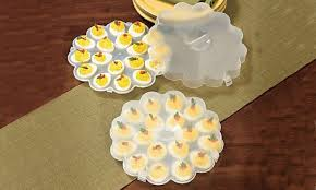 devilled egg plate deviled egg tray set with snap on lids groupon