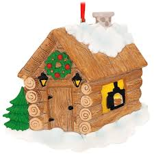 log cabin personalized tree ornament home