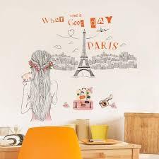 stickers muraux pour chambre romantique sticker mural pour filles chambre tour eiffel