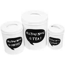 all you need is tea coffee sugar kitchen canisters set of 3