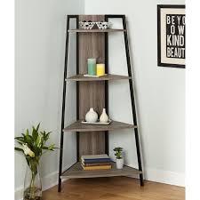 Reclaimed Wood And Metal Bookcase Corner Shelf Ladder Rustic Wood Metal Bookshelf Accent Storage
