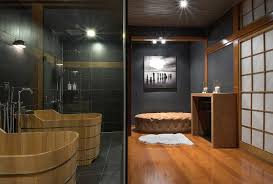 catchy japanese modern style bathroom with black tiles and white