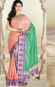 peach and pista green color banarasi saree with blouse saree