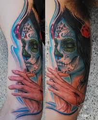 dia de los muertos face tattoo design for sleeve