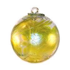 handblown glass garden iridescent lemon yellow 6 inches