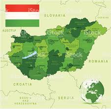 Hungary World Map Green Map Of Hungary States Cities And Flag Stock Vector Art
