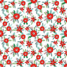 Flower Fabric Design Christmas Florals Red Posy Peonies Poinsettias Christmas Flowers