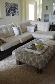 living room captivating two tone sectional tufted sofa white