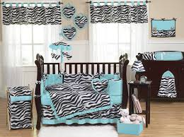 Zebra Bedroom Furniture Sets Turquoise Blue U0026 Black Zebra Print Crib Bedding 9pc Baby