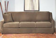 Sure Fit 3 Piece Sofa Slipcover by Sure Fit Slipcovers Ultimate Heavyweight Stretch Leather Separate