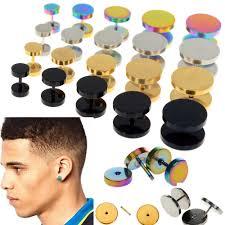 ear stud men 2x jewelry stainless steel plain men ear stud barbell