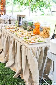 Gourmet Table Skirts Love The Food In Jars Food Table At A Chalk Chalkboard And