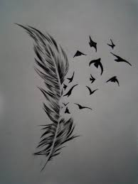 wonderful black ink birds and feather tattoo design on paper