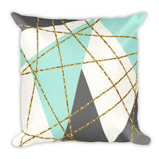 Make Your Home Beautiful With Accessories Geometric Mint Grey Gold Glitter Throw Pillow Products