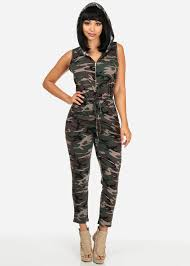 camouflage jumpsuit womens casual style hooded camouflage jumpsuits with drawstring qz9291