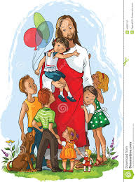 jesus with children stock vector image 46850742