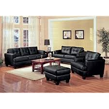 Leather Sofa And Chair Sets Amazon Com 3 Pcs Black Classic Leather Sofa Loveseat And Chair
