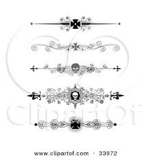 clipart illustration of a set of five black and white iron cross