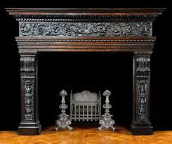 antique wood renaissance with floral decoration fireplace mantel