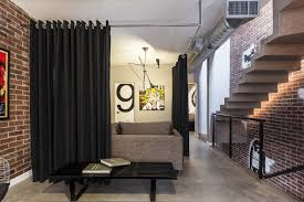 Modern Cornice Design Interior Partitions Room Zoning Design Ideas Black Curtain On The