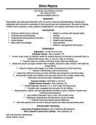 Resume Of Nanny Download Babysitter Resume Objective Haadyaooverbayresort Com
