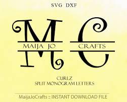 Letter Monogram Split Letter Monogram Svg File Dxf Digital Svg Font Alphabet