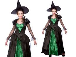 costume of witch green witch costume ladies emerald witches halloween fancy dress