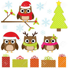 owl christmas christmas vector set with owls royalty free cliparts