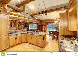 Log Home Kitchen Cabinets Log Cabin Kitchen Interior Design With Honey Color Cabinets Stock