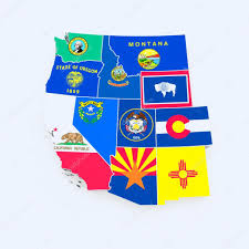 State Flags Of Usa Usa West Region State Flags On Map U2014 Stock Photo Godard 14616533